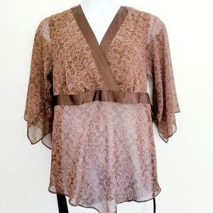 Brown Sheer Floral Top Lane Bryant 14/16